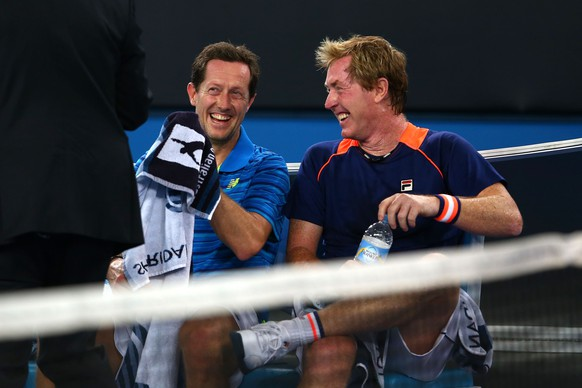 (FILE PHOTO) FILE - Former Swedish Player Jonas Bjorkman To Join Andy Murray Coaching Team For Trial. MELBOURNE, AUSTRALIA - JANUARY 26:  Mark Woodforde of Australia and Jonas Bjorkman of Sweden in action in their legends doubles match during day eight of the 2015 Australian Open at Melbourne Park on January 26, 2015 in Melbourne, Australia.  (Photo by Mark Kolbe/Getty Images)