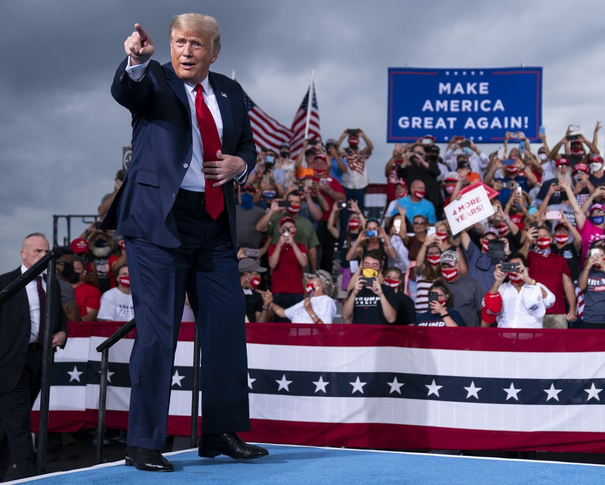 President Donald Trump arrives to speak at a campaign rally at Smith Reynolds Airport, Tuesday, Sept. 8, 2020, in Winston-Salem, N.C. (AP Photo/Evan Vucci) Donald Trump