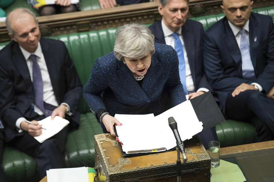 Britain's Prime Minister Theresa May speaks during Prime Minister's Questions in the House of Commons, London, Wednesday, Jan. 23, 2019. (©UK Parliament /Jessica Taylor via AP)