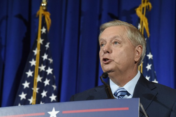 U.S. Sen. Lindsey Graham of South Carolina makes his victory speech after winning another term in office on Tuesday, Nov. 3, 2020, in Columbia, S.C. (AP Photo/Meg Kinnard) Lindsey Graham