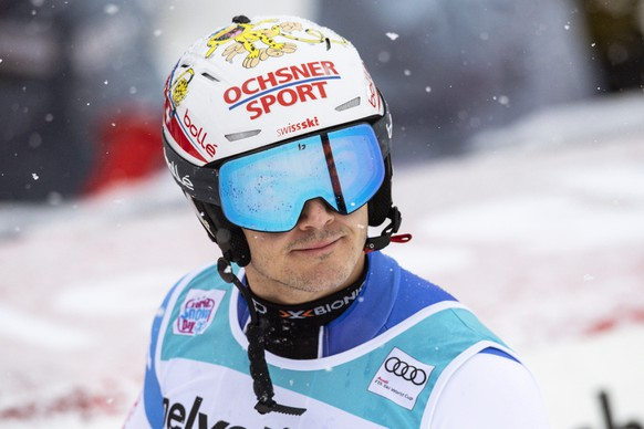 epa07279594 Loic Meillard of Switzerland reacts in the finish area during the first run of the men's Slalom race at the FIS Alpine Skiing World Cup in Adelboden, Switzerland, 13 January 2019.  EPA/PETER SCHNEIDER