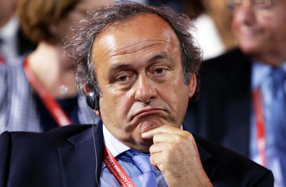 epa04860081 UEFA President Michel Platini attends the Preliminary Draw of the FIFA World Cup 2018 in St.Petersburg, Russia, 25 July 2015. St.Petersburg is one of the host cities of the FIFA World Cup 2018 in Russia which will take place from 14 June until 15 July 2018.  EPA/TATYANA ZENKOVICH