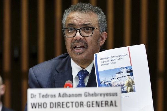 epa08213542 Tedros Adhanom Ghebreyesus, Director General of the World Health Organization (WHO), speaks about the response on vcCOVID-19 after the conclusions of the Global Research and Innovation Forum, during a new press conference, at the World Health Organization (WHO) headquarters in Geneva, Switzerland, 12 February 2020. The disease caused by the novel coronavirus (SARS-CoV-2) has been officially named COVID-19 by the World Health Organization (WHO).  EPA/SALVATORE DI NOLFI