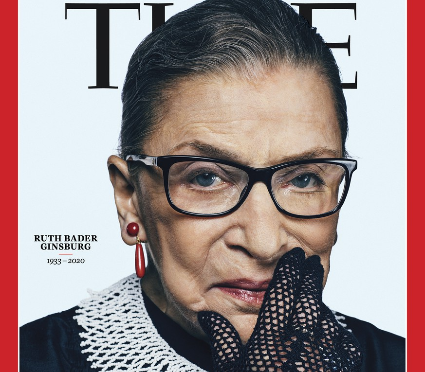 This photo provided by Time shows the cover of Time magazine with tribute Supreme Court Justice Ruth Bader Ginsurg on the cover.   Time will feature Ginsburg for an October double issue presenting the 2020 Time 100 list of the world