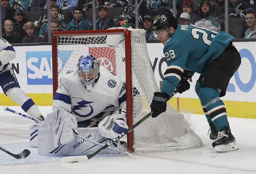 Tampa Bay Lightning goaltender Andrei Vasilevskiy, from Russia, left, defends a shot by San Jose Sharks right wing Timo Meier (28), from Switzerland, during the first period of an NHL hockey game in San Jose, Calif., Saturday, Jan. 5, 2019. (AP Photo/Jeff Chiu)