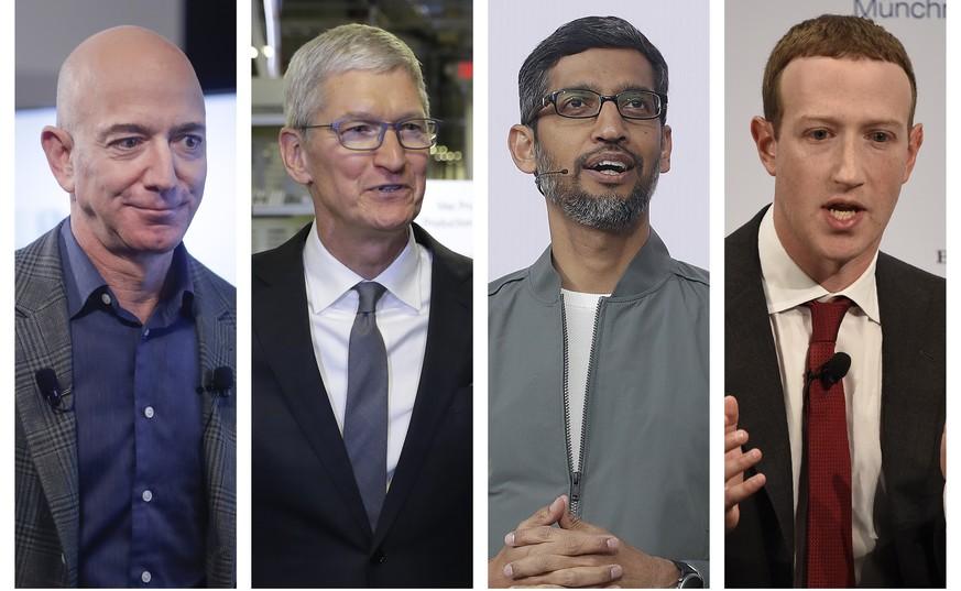 Jeff Bezos, Tim Cook, Sundar Pichai und Mark Zuckerberg.  Bild keystone