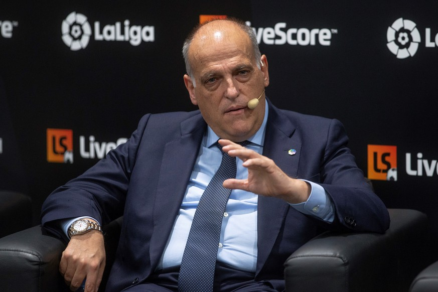 epa07837772 Spanish National Professional Football League LaLiga President Javier Tebas attends the presentation of the sports application LiveScore in Madrid, Spain, 12 September 2019. The newly released LiveScore application is the new sponsor of the Spanish first division LaLiga.  EPA/RODRIGO JIMENEZ
