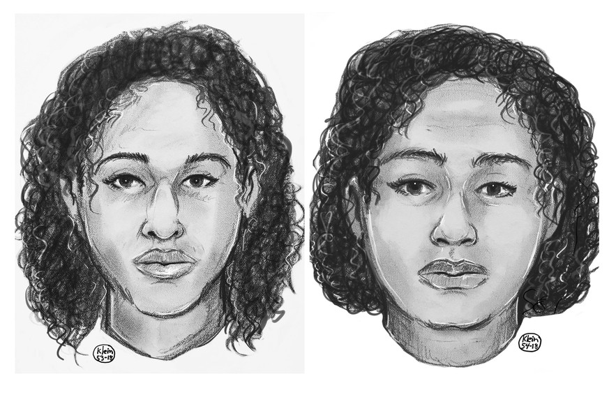 In this undated police sketch provided by the New York Police Department, sisters Rotana, left and Tala Farea are shown. The New York Police Department says the sister's bodies were found bound together lying on rocks along the Hudson River on Wednesday, Oct. 24, 2018. (New York Police Department via AP)