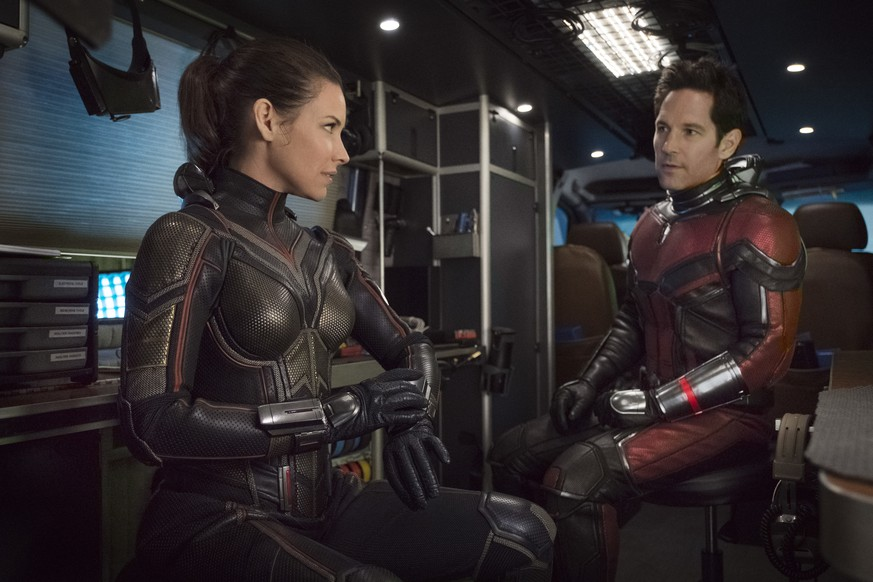 This image released by Marvel Studios shows Evangeline Lilly, left, and Paul Rudd in a scene from