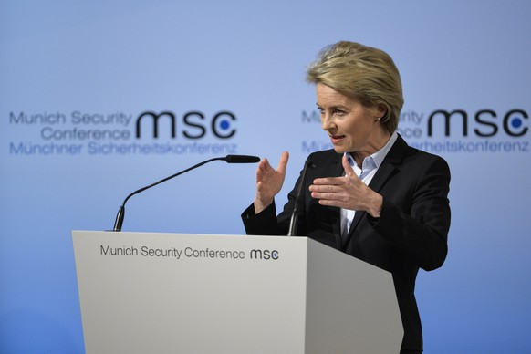 epa05799868 German Defence Minister Ursula von der Leyen speaks during the 53rd Munich Security Conference (MSC) in Munich, Germany, 17 February 2017. In their annual meeting, politicians and various experts and guests from around the world discuss issues surrounding global security from February 17 to 19.  EPA/PHILIPP GUELLAND