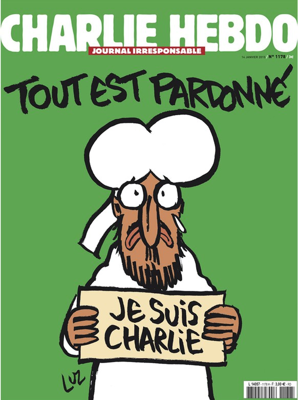 epa04557691 A handout image released on 12 January 2015 in Paris by French newspaper Charlie Hebdo shows the frontpage of the upcoming 'survivors' edition of the French satirical weekly with a cartoon of the Prophet Mohammed holding up a 'Je suis Charlie' ('I am Charlie') sign under the words: 'Tout est pardonne' ('All is forgiven'). The frontpage was released to media ahead of the newspaper's publication on 14 January 2015. The country is still reeling after three men were killed by police on 08 Januray 2015 in two separate raids that ended days of terror in France. One operation targeted two brothers - Cherif and Said Kouachi, 32 and 34 years old - believed to be responsible for a 07 January 2015 shooting at Charlie Hebdo satirical magazine that killed 12 people.  EPA/CHARLIE HEBDO / HANDOUT  HANDOUT EDITORIAL USE ONLY/NO SALES