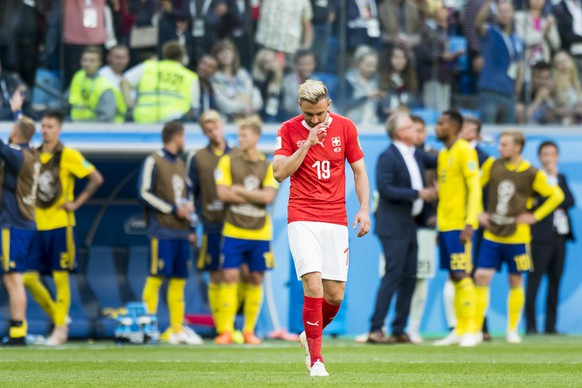 Switzerland's forward Josip Drmic, reacts during the FIFA World Cup 2018 round of 16 soccer match between Sweden and Switzerland at the Krestovski Stadium, in St. Petersburg, Russia, Tuesday, July 3, 2018. (KEYSTONE/Laurent Gillieron)