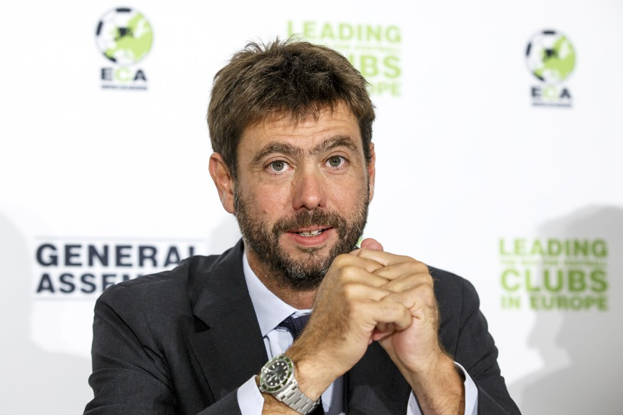 The new chairman of the European Club Association, ECA, Italy's Andrea Agnelli speaks to the media, during a press conference after the plenary general assembly of the European Club Association, ECA, in Geneva, Switzerland, Tuesday, September 5, 2017. (KEYSTONE/Salvatore Di Nolfi)
