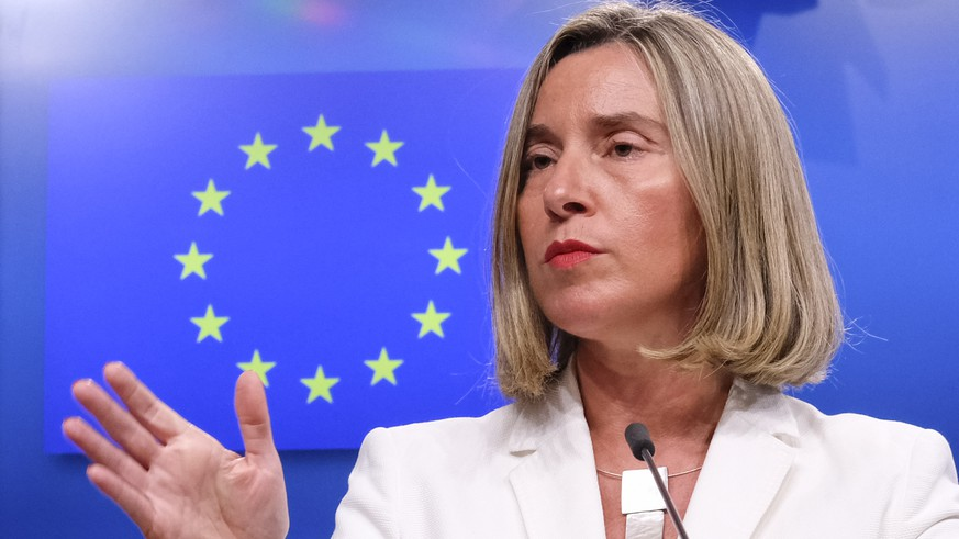 epa06738537 European Union Foreign Policy Chief Federica Mogherini reacts to Question on Iran Nuclear deal, during a news conference in Brussels, Belgium, 15 May 2018. This evening, High Representative is convening a meeting with the E3 Foreign Ministers (Heiko Maas, Foreign Minister of Germany, Jean-Yves Le Drian, Foreign Minister of France and Boris Johnson, Foreign Minister of the United Kingdom), followed by a meeting of the four with the Foreign Minister of Iran, Mohammad Javad Zarif.  EPA/OLIVIER HOSLET