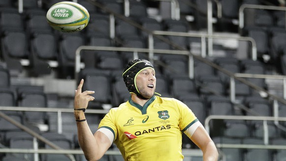 Australia's Adam Coleman celebrates after scoring a try against Samoa during their rugby union test match in Sydney, Saturday, Sept. 7, 2019. (AP Photo/Rick Rycroft)