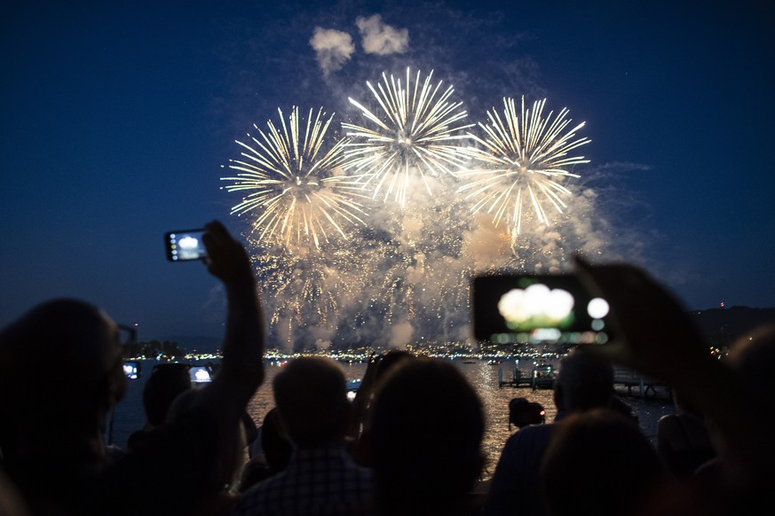 epa07698827 A view of fireworks as part of the 'Zueri Faescht' folk festival in Zurich, Switzerland, 05 July 2019. The funfair originated in 1951.  EPA/WALTER BIERI