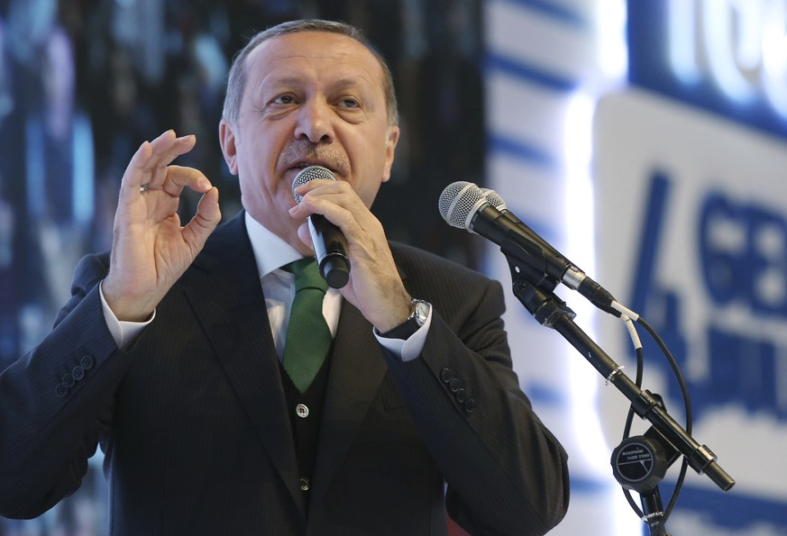 Turkey's President Recep Tayyip Erdogan addresses his supporters during a meeting in Istanbul, Monday, March 27, 2017. Turkey hold a referendum on April 16 to expand the powers of the Turkish presidency.(Yasin Bulbul/Presidential Press Service, Pool Photo via AP)
