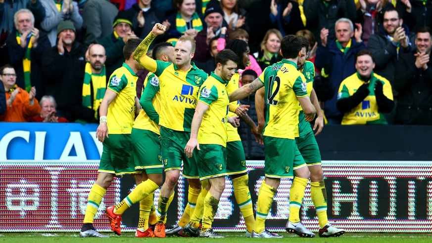 NORWICH, ENGLAND - JANUARY 23: Steven Naismith (3rd L) of Norwich City celebrates scoring his team's second goal with his team mates during the Barclays Premier League match between Norwich City and Liverpool at Carrow Road on January 23, 2016 in Norwich, England.  (Photo by Clive Mason/Getty Images)