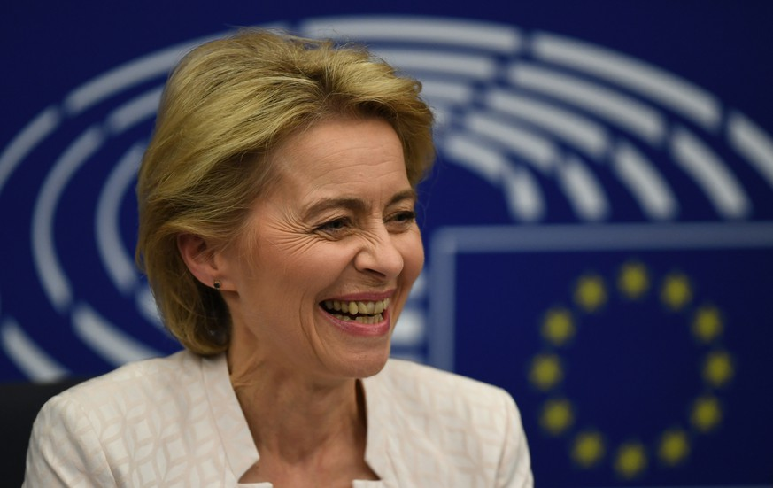 epa07720998 German Defense Minister Ursula von der Leyen and nominated President of the European Commission reacts after a vote at the European Parliament in Strasbourg, France, 16 July 2019. European Parliament voted in favor of Ursula von der Leyen as the new President of the European Commission.  EPA/PATRICK SEEGER