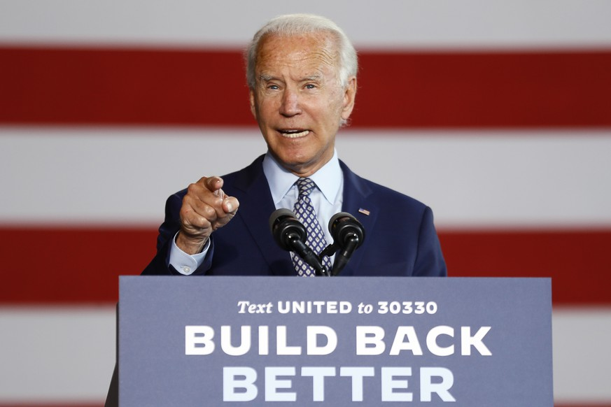 Democratic presidential candidate former Vice President Joe Biden speaks at McGregor Industries in Dunmore, Pa., Thursday, July 9, 2020. (AP Photo/Matt Slocum) Joe Biden