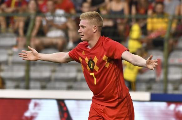 Belgium's Kevin De Bruyne reacts after a call during a friendly soccer match between Belgium and Egypt at the King Baudouin stadium in Brussels, Wednesday, June 6, 2018. (AP Photo/Geert Vanden Wijngaert)