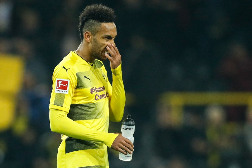 epa06333459 (FILE) Dortmund's Pierre-Emerick Aubameyang reacts after the German Bundesliga soccer match between Borussia Dortmund and Bayern Munich in Dortmund, Germany, 04 November 2017 (reissued 16 November 2017). Aubameyang will not be in the squad for the German Bundesliga match against Stuttgart after being left out for disciplinary reasons.  EPA/FRIEDEMANN VOGEL (EMBARGO CONDITIONS - ATTENTION: Due to the accreditation guidelines, the DFL only permits the publication and utilisation of up to 15 pictures per match on the internet and in online media during the match.)