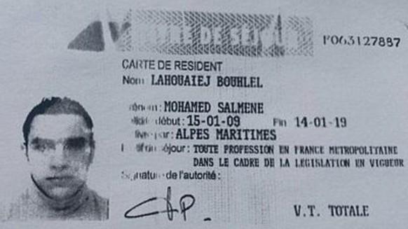 Ausweis des Täters des Anschlags von Nizza, Mohamed Lahouiaej Bouhlel