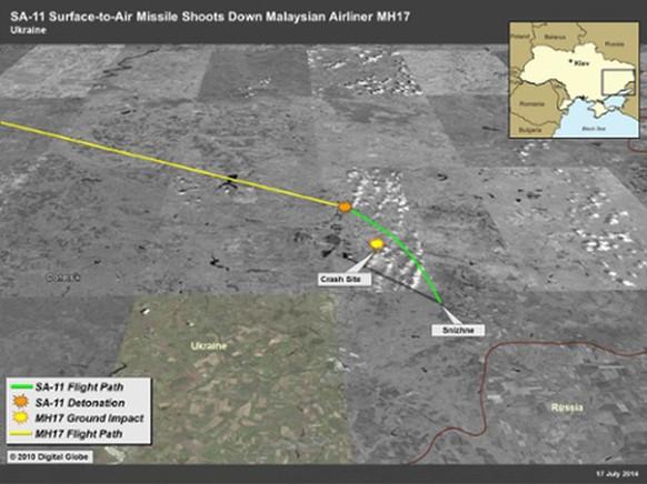 Satellitenbild des Abschusses der MH17, Malaysia Airlines, Ukraine. Bild: US-Geheimdienste (U.S. Intelligence Community)