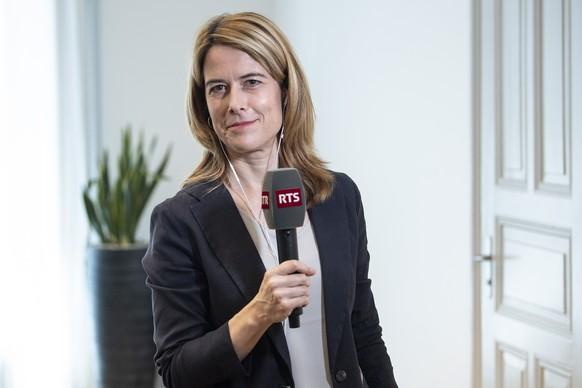 FDP Parteipraesidentin Petra Goessi spricht an einem Medientermin, am Montag, 14. Juni 2021, in Bern. Goessi gab ihren Ruecktritt per Ende Jahr bekannt. (KEYSTONE/Peter Schneider)