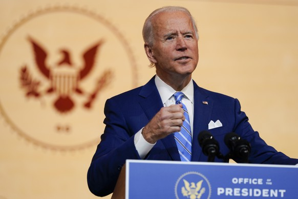 President-elect Joe Biden speaks at The Queen theater Wednesday, Nov. 25, 2020, in Wilmington, Del. (AP Photo/Carolyn Kaster) Joe Biden
