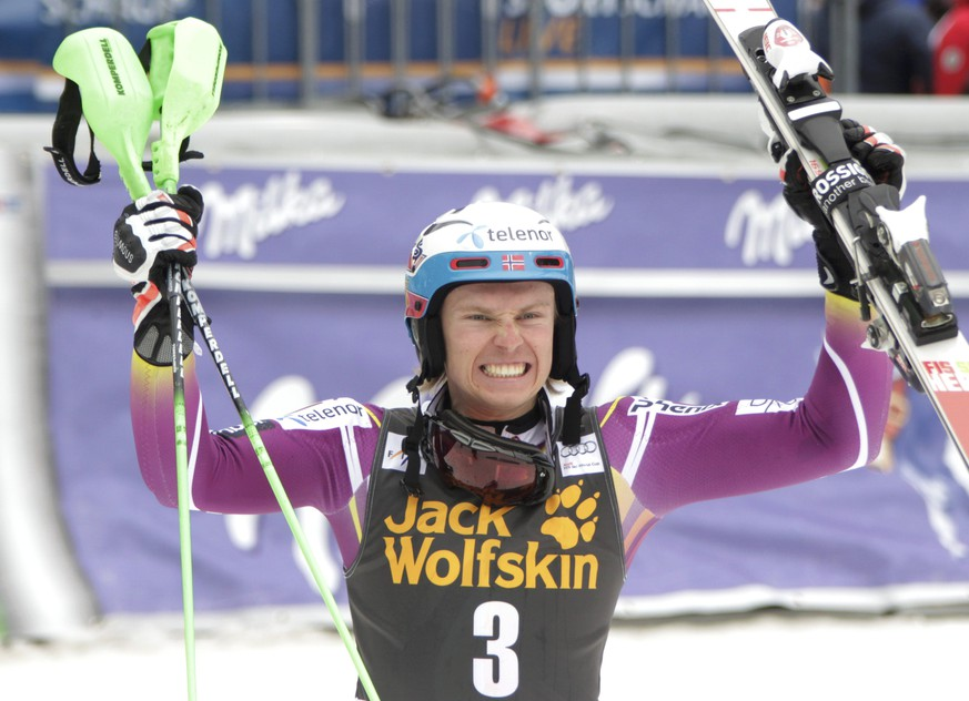 Henrik Kristoffersen of Norway celebrates in the finish area after winning the men's slalom at the Alpine Skiing World Cup in Kranjska Gora March 15, 2015.               REUTERS/Srdjan Zivulovic (SLOVENIA  - Tags: SPORT SKIING)