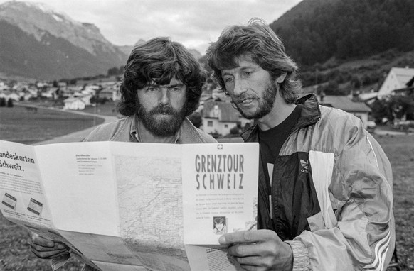 Mountain climbers Reinhold Messner, left, and Andrea Vogel, right, pictured in Muestair in the Canton of Grisons, Switzerland, on September 9, 1992. Andrea Vogel is on his tour called