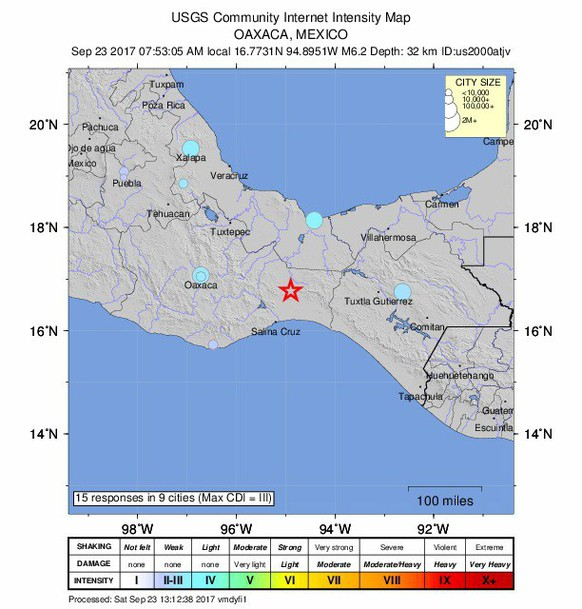 epa06221608 A handout photo made available by the US Geological Survey (USGS) showing a shake map of the magnitude 6.2 earthquake aftershock that hit Mexico City, Mexico, 23 September 2017. According to initial reports, the strong aftershock was felt through Mexico City, swaying buildings and sending residents fleeing to the street. The quake was much weaker than the magnitude 7.1 earthquake that hit on 19 September, killing at least 295 people and knocking down buildings across the capital.  EPA/USGS / HANDOUT  HANDOUT EDITORIAL USE ONLY/NO SALES