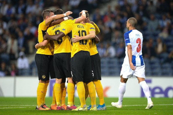 epa07854324 Young Boys players celebrate after scoring a penalty goal against FC Porto during their UEFA Europa League Group G soccer match at Dragao stadium, Porto, Portugal, 19 September 2019.  EPA/FERNANDO VELUDO