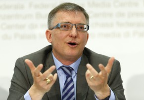 Switzerland's federal intelligence service NDB director Markus Seiler speaks to media during a news conference in Bern May 5, 2014. REUTERS/Ruben Sprich (SWITZERLAND - Tags: POLITICS)