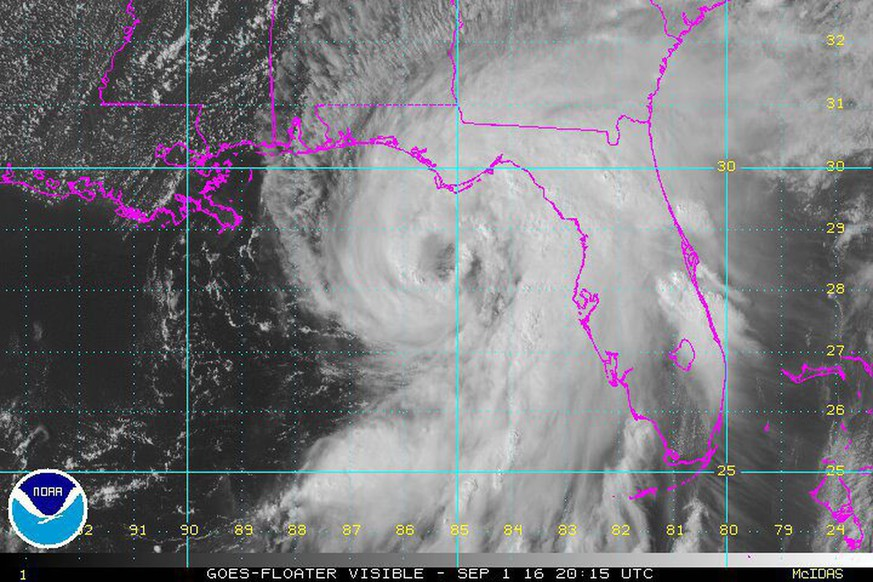 epa05519484 A handout satellite image provided by the National Oceanic and Atmospheric Administration (NOAA) shows Hurricane Hermine off the coast of the state of Florida, USA, 01 September 2016. Some counties along Florida's Gulf Coast have issued mandatory evacuation notices.  EPA/NOAA / HANDOUT  HANDOUT EDITORIAL USE ONLY