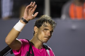 Rafael Nadal, of Spain, greets the public as he leaves the court after loosing to Fabio Fognini of Italy during the semifinals of the Rio Open tennis tournament in Rio de Janeiro, Brazil, Saturday, Feb. 21, 2015. (AP Photo/Felipe Dana)