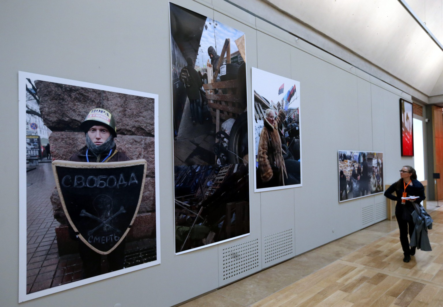 epa04283196 A visitor looks at the artwork 'The Theatre of War' by Ukrainian photographer Boris Mikhailov during the press preview day of the 'Manifesta 10' European Biennial of Contemporary Art at the State Hermitage Museum in St. Petersburg, Russia, 26 June 2014. After many months of planning, 'Manifesta 10' will finally open to the public on 28 June.  EPA/ANATOLY MALTSEV