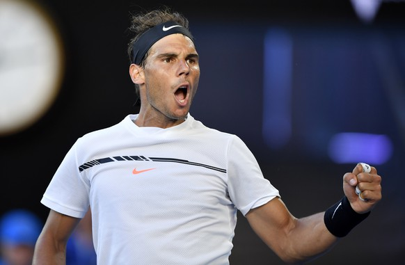 Spain's Rafael Nadal celebrates a point win against Germany's Alexander Zverev during their third round match at the Australian Open tennis championships in Melbourne, Australia, Saturday, Jan. 21, 2017. (AP Photo/Andy Brownbill)