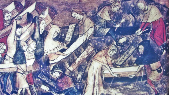 Pest, Schwarzer Tod, The citizens of Toumai bury their dead during the black death. Miniature from manuscript, Belgium, 14th century