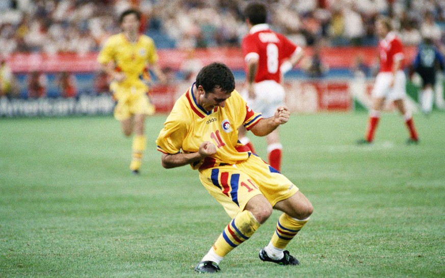 Romanian team captain and midfielder Gheorghe Hagi reacts after scoring a goal during the World Cup, Group A, first round match against Switzerland, on Wednesday, June 22, 1994 at the Pontiac, Mich., Silverdome. Romania was defeated 1-4. (AP Photo/Susan Walsh)
