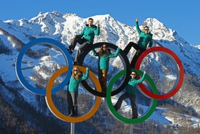 SOCHI, RUSSIA - FEBRUARY 06:  Australian Athletes (L-R) John Farrow, Lucy Chaffer, Hannah Trigger, Michelle Steele, and Dave Morris pose in the Olympic Rings in the Athletes Village ahead of the Sochi 2014 Winter Olympics at Rosa Khutor on February 6, 2014 in Sochi, Russia.  (Photo by Al Bello/Getty Images)