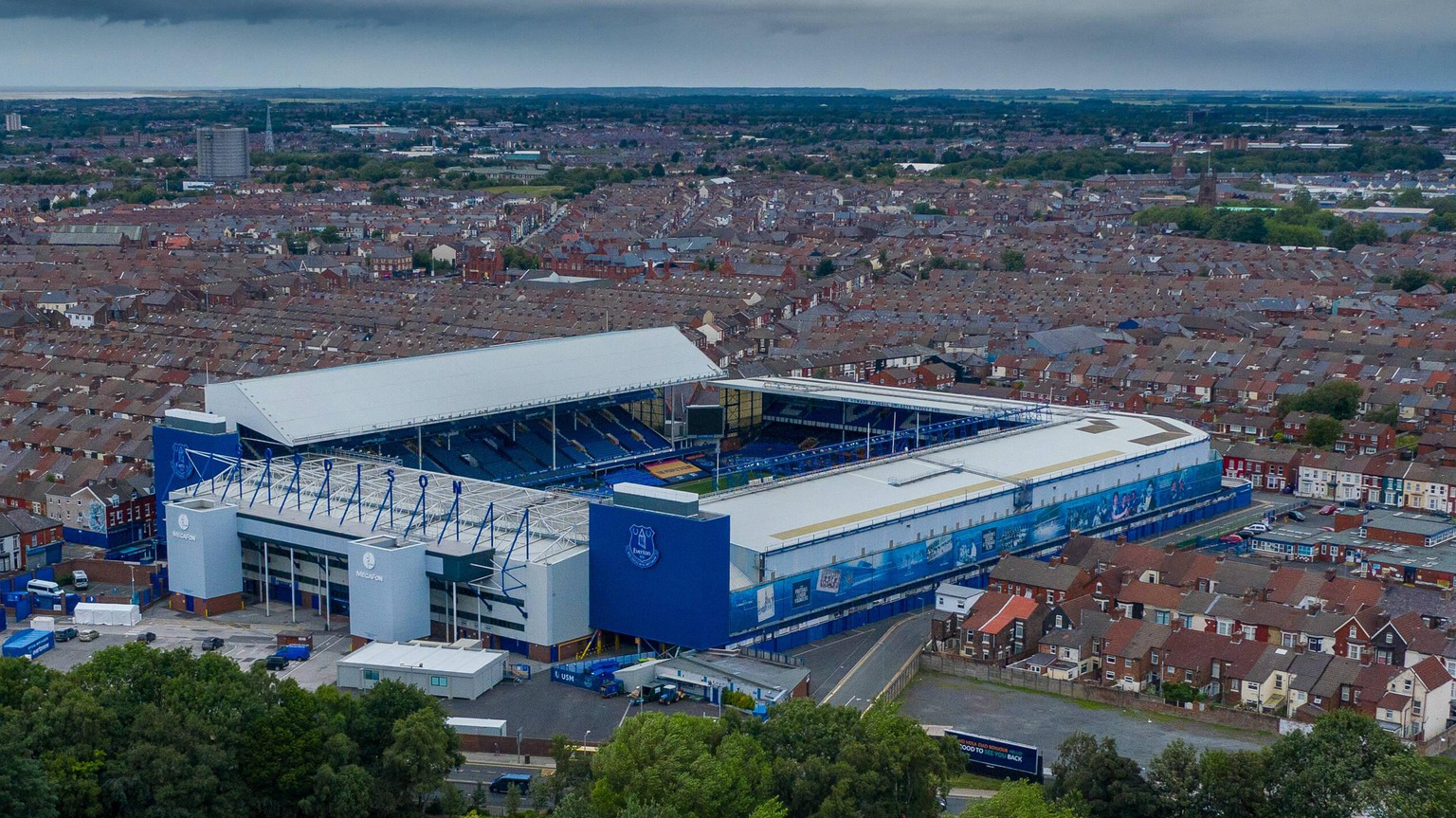 Aerial photograph of Goodison Park Stadium home of English Premier League team Everton at Goodison Park, Liverpool, England on 3 July 2020. PUBLICATIONxNOTxINxUK Copyright: xDavidxHornx PMI-3524-0001