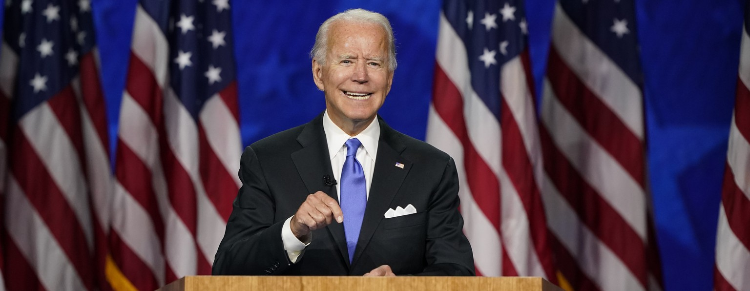 Democratic presidential candidate former Vice President Joe Biden speaks during the fourth day of the Democratic National Convention, Thursday, Aug. 20, 2020, at the Chase Center in Wilmington, Del. (AP Photo/Andrew Harnik) Joe Biden