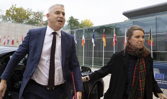 United Kingdom Brexit negotiator Stephen Barclay arrives for a meeting of EU General Affairs Council at the European Convention Center in Luxembourg, Tuesday, Oct. 15, 2019. European Union chief Brexit negotiator Michel Barnier briefed ministers Tuesday on the state of play of Brexit. (AP Photo/Virginia Mayo)
