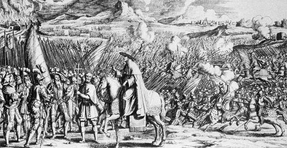Der Kupferstich von Melchior Fuessli aus dem Jahr 1713 zeigt das dramatische Ereignis der Schlacht von Marignano vom 13. September 1515 zwischen den Eidgenossen und Frankreich um das Herzogtum Mailand. (KEYSTONE/Str)