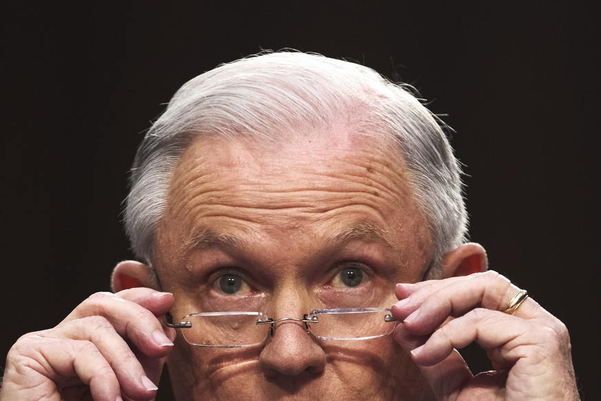 epa07149116 (FILE) - US Attorney General Jeff Sessions puts on his glasses while testifying before the Senate Intelligence Committee on the FBI's investigation into the Trump administration, and its possible collusion with Russia during the campaign, in the Hart Senate office Building in Washington, DC, USA, 13 June 2017 (reissued 07 November 2018). According to media reports on 07 November 2018 US Attorney General Jeff Sessions has resigned, with US President Trump naming Matthew Whitaker as interim replacement.  EPA/MICHAEL REYNOLDS