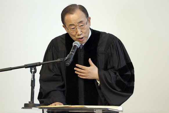 United Nations Secretary-General Ban Ki-moon speaks after receiving an honorary Doctor of Humane Letters degree from Loyola Marymount University in Los Angeles Wednesday, April 6, 2016. The university said in a statement that Ban, a former diplomat in South Korea's Ministry of Foreign Affairs, is being honored for his humanitarian accomplishments and dedication to the UN. During Ban's tenure, which began in January, 2007, the UN has advanced major initiatives on climate change, violence against women and the Ebola crisis.  (AP Photo/Nick Ut)