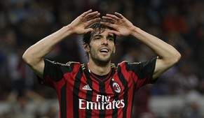 AC Milan's Kaka reacts during the Italian Serie A soccer match against Inter Milan at San Siro stadium in Milan May 4, 2014. REUTERS/Max Rossi  (ITALY - Tags: SPORT SOCCER)