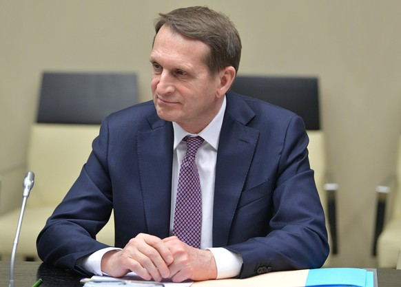 FILE -  In this file photo taken on Friday, Feb. 21, 2020, Sergei Naryshkin, head of the Russian Foreign Intelligence Service attends a meeting with Russian President Vladimir Putin at the Novo-Ogaryovo residence outside Moscow, Russia. Naryshkin on Wednesday, Sept. 16, 2020 accused the United States of fomenting protests in Belarus where massive demonstrations against the country's authoritarian president have entered their sixth week. (Alexei Druzhinin, Sputnik, Kremlin Pool Photo via AP, File)